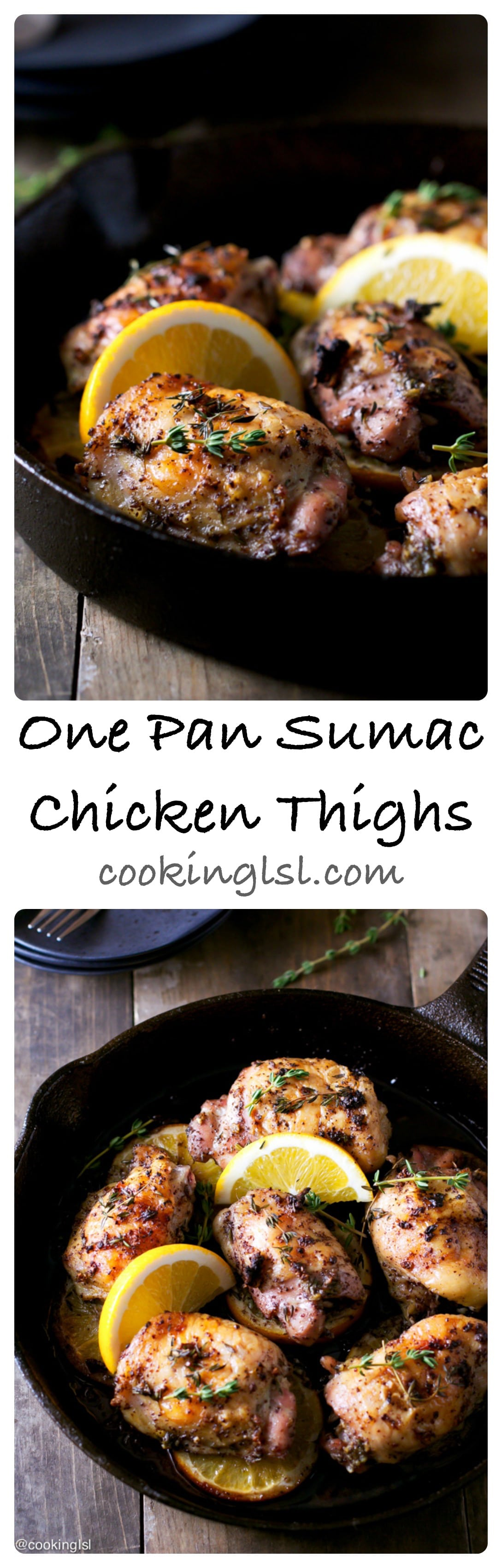 With crispy skin and citrusy flavor these one pan sumac chicken thighs are perfect for weeknight dinner or family gathering. #sumac #chickenrecipes #chickenthighs