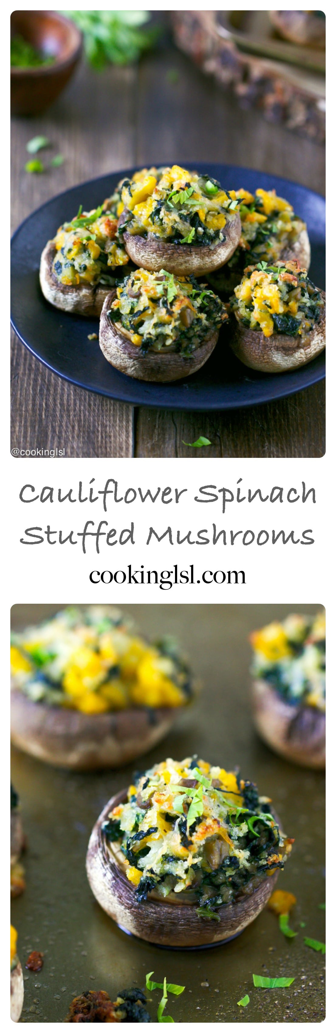 stuffed-mushrooms-spinach-cauliflower-appetizer