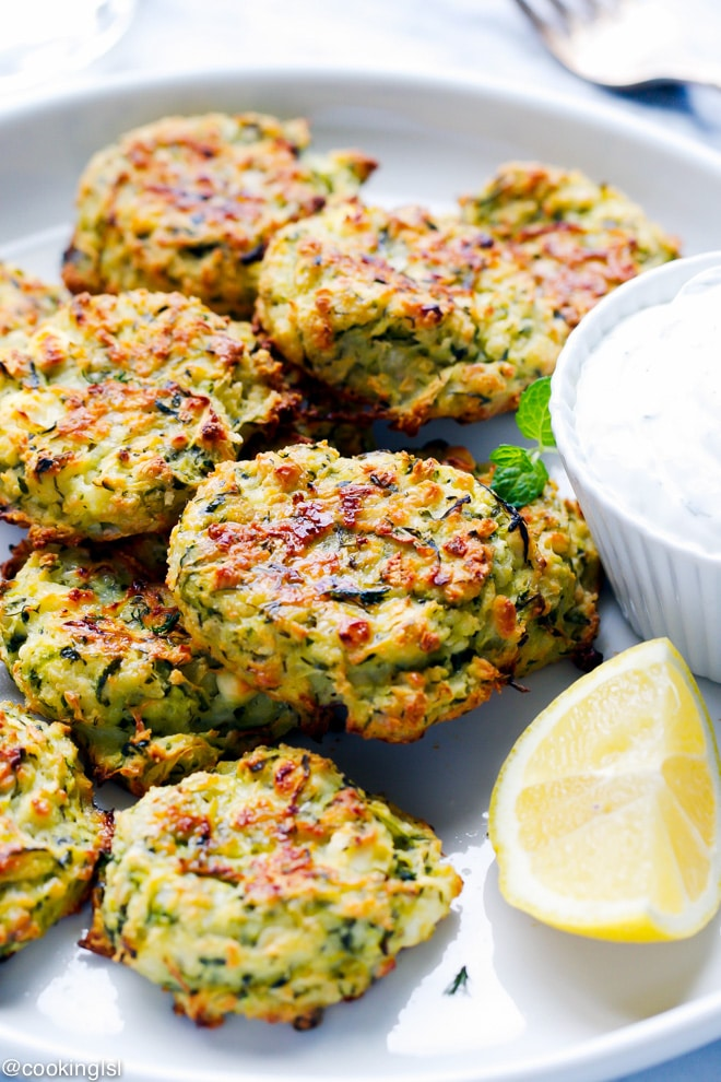 feta and zucchini fritters on a platter