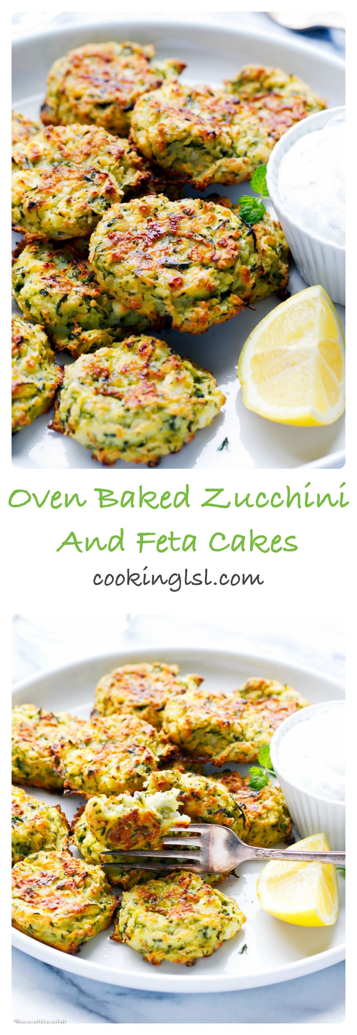 Baked zucchini and feta fritters on a plate