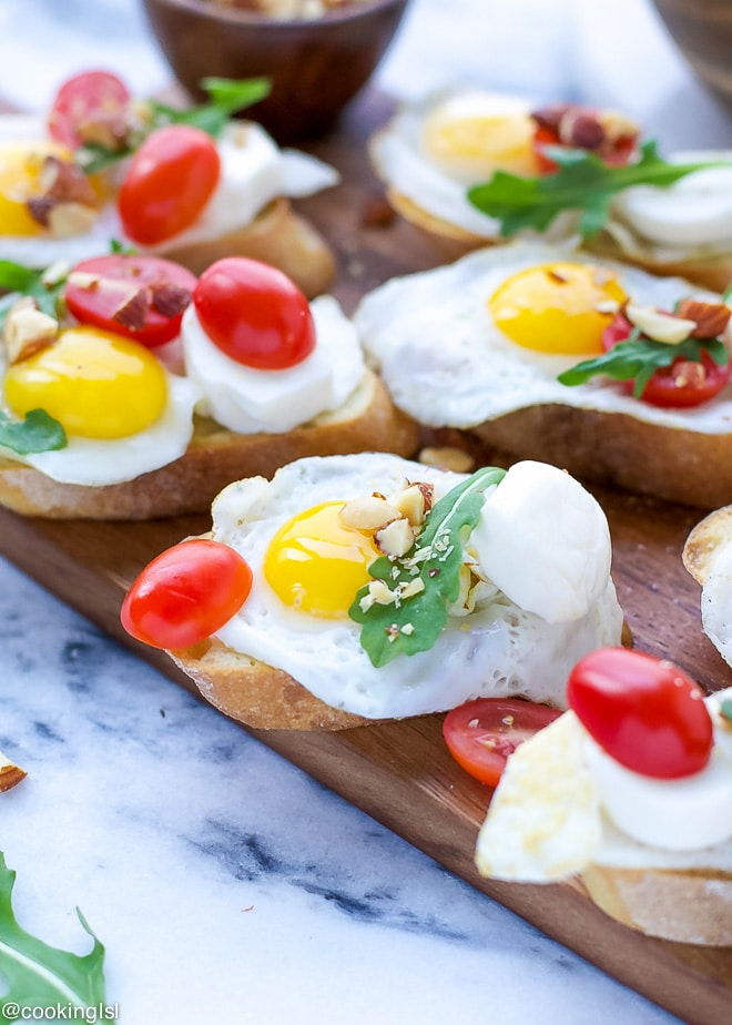 Crostini With Quail Eggs Perfect For Brunch Cooking Lsl
