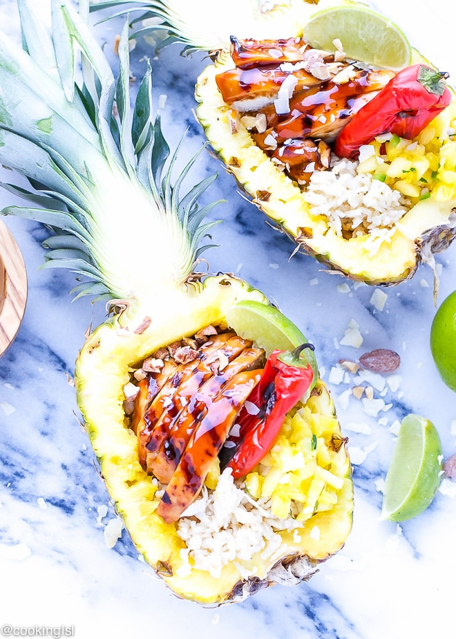 Grilled Teriyaki Chicken Pineapple Boats Recipe
