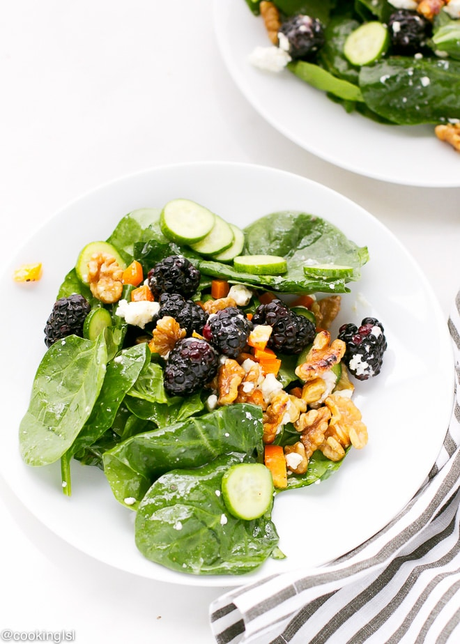 Blackberry Spinach Salad on a white plate