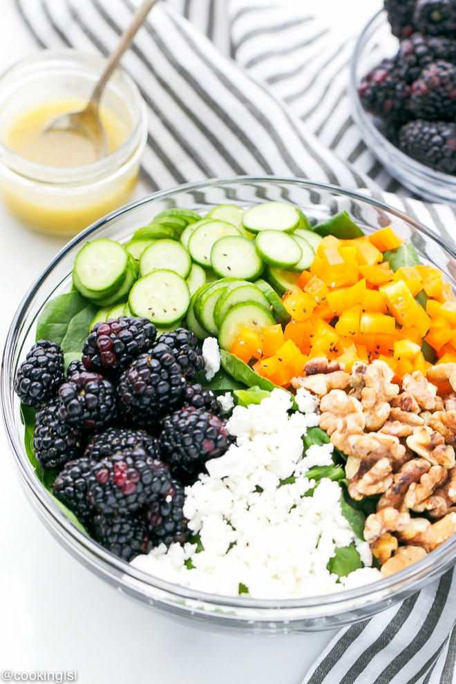 Blackberry Spinach Salad in a clear bowl
