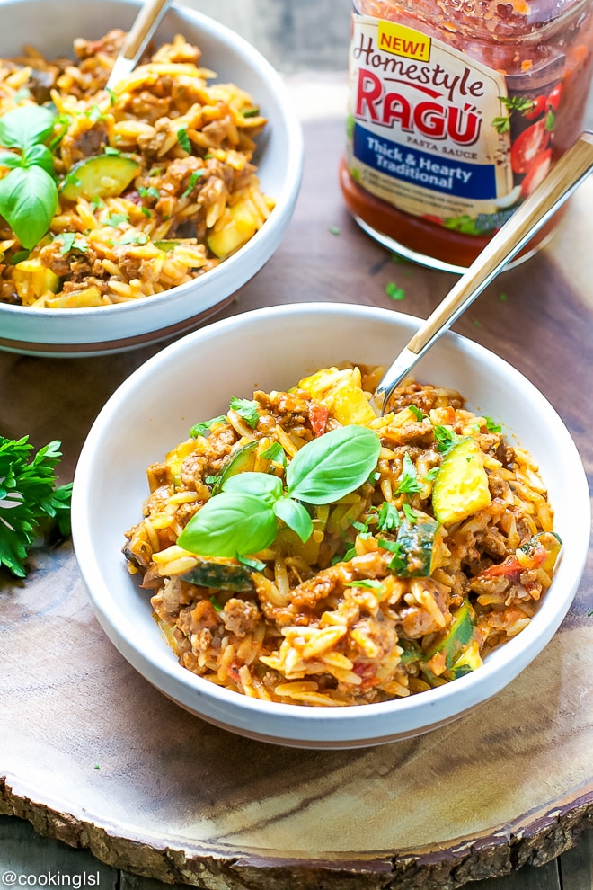 Orzo-With-Meaty-Sauce-Zucchini-and-Mushrooms-Recipe