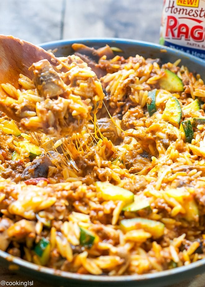 Orzo in one pan, melty cheese, With Meaty Sauce Zucchini and Mushrooms Recipe