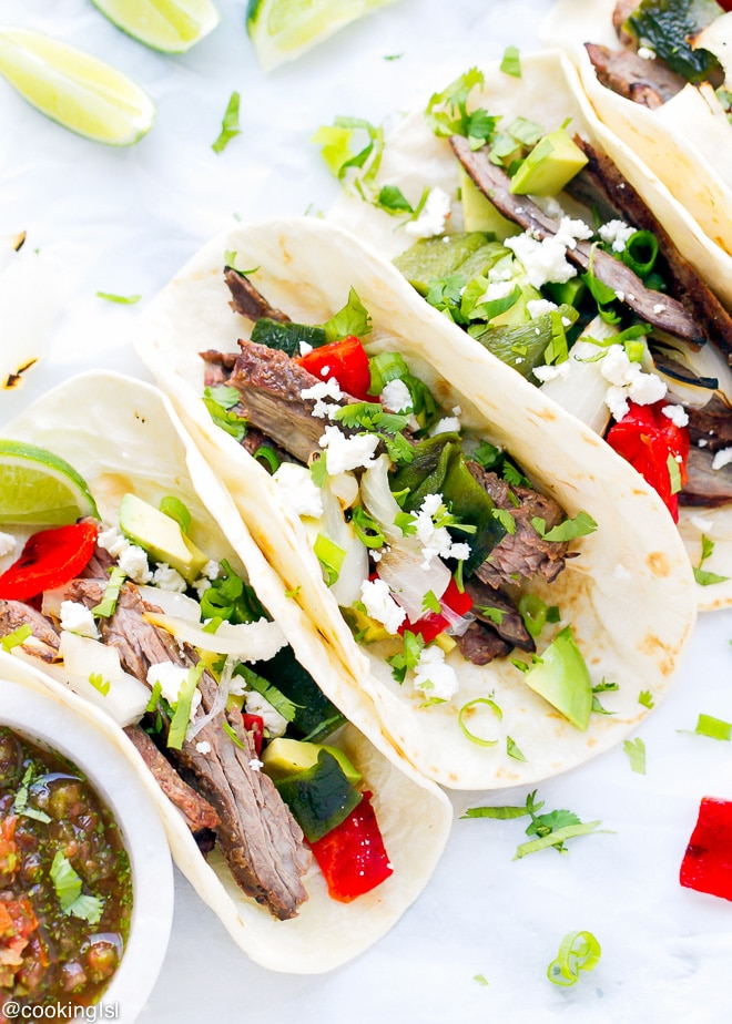 Mexican Food Skirt Steak And Poblano Peppers Tacos Recipe