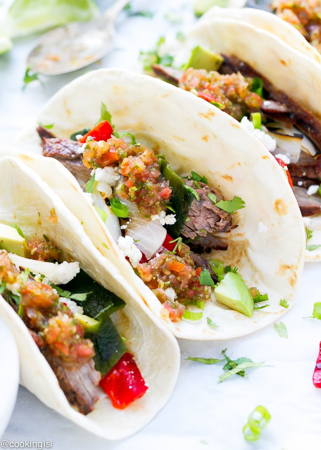 Easy Dinner Skirt Steak And Poblano Peppers Tacos Recipe