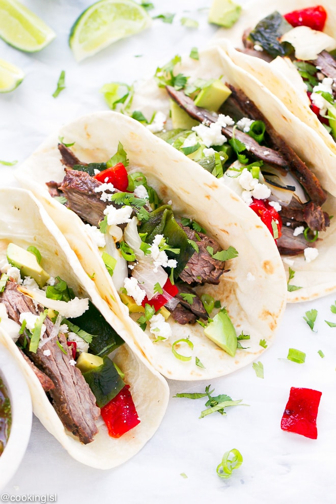 Cinco De Mayo Grilling Skirt Steak And Poblano Peppers Tacos Recipe