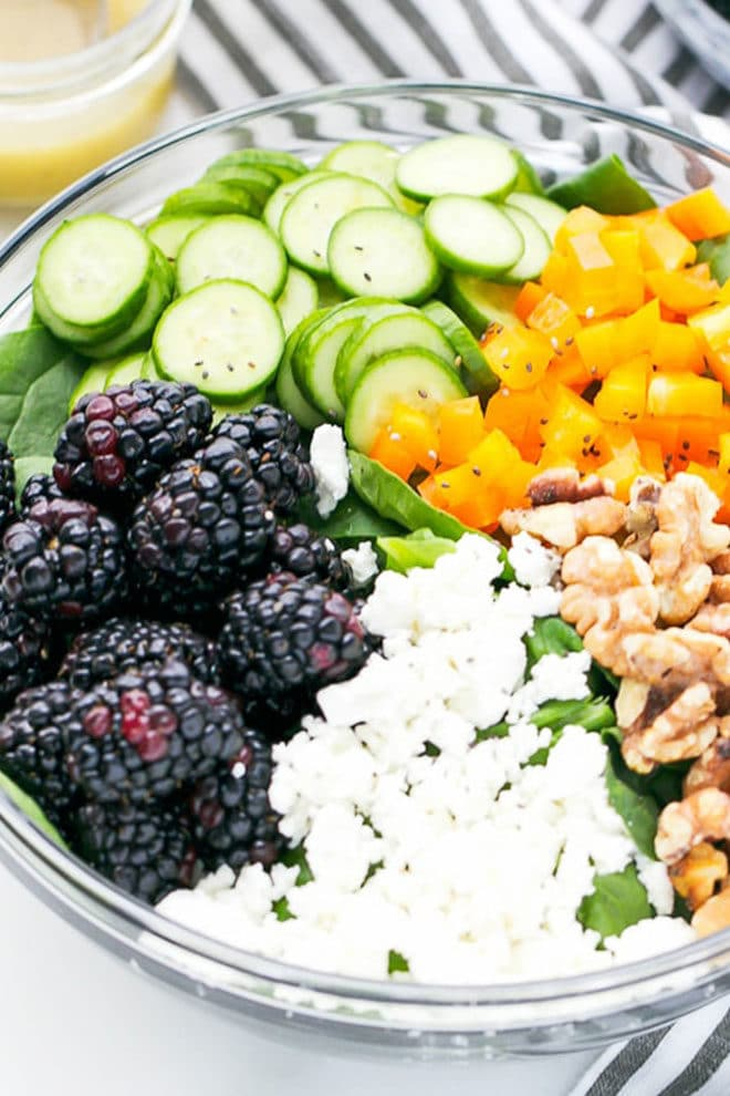Blackberry Spinach Salad in a bowl
