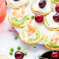 sweet pea hummus bites cherry cheesecake dare crackers