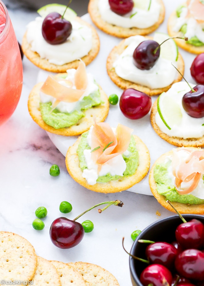 sweet-pea-hummus-bites-cherry-cheesecake-dare-crackers