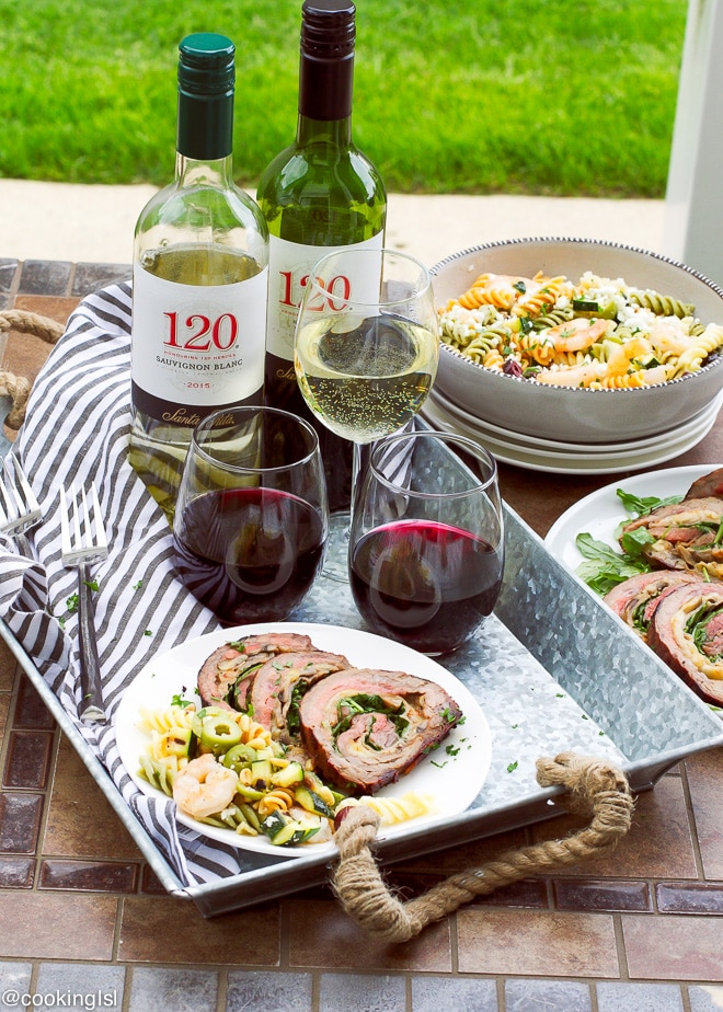 Grilled-Stuffed-Flank-Steak-And-Tri-Color-Pasta-Salad-Recipe-120daysofsummer