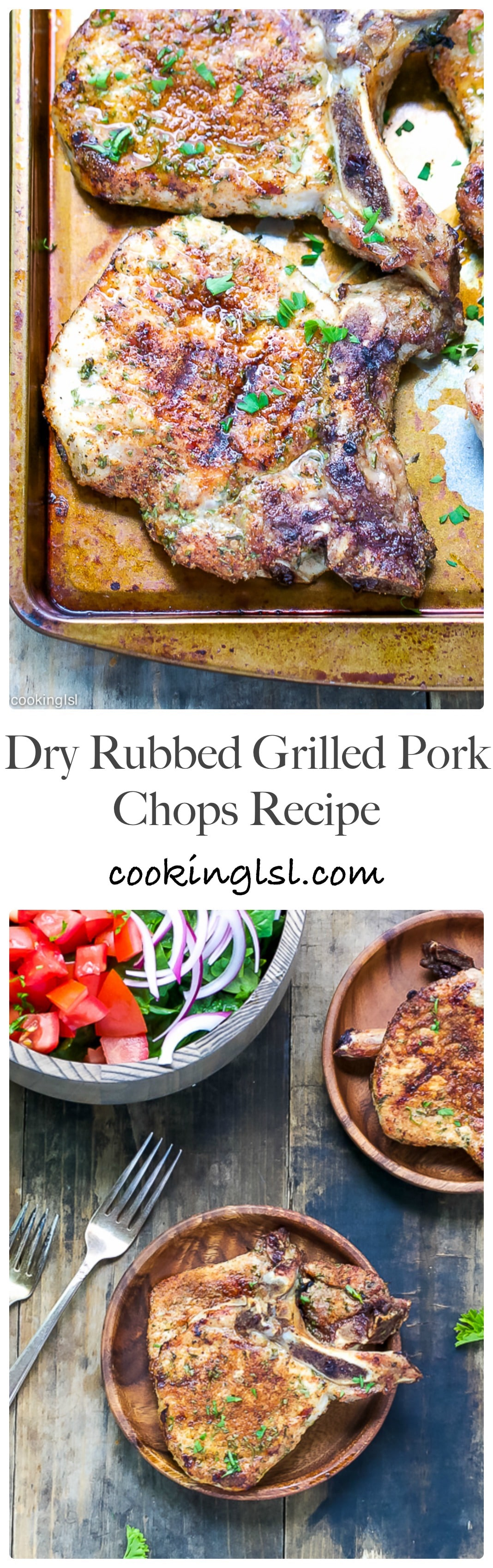 Juicy, flavorful and delicious, these dry rubbed grilled pork chops are perfect for a weekend barbecue or a quick weeknight dinner.