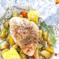 Grilled chicken breast and potatoes in foil, easy to make, great for summer. Served in foil packet.