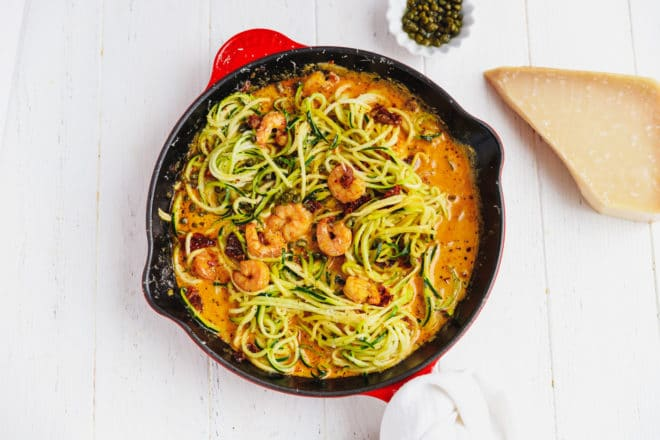 Zucchini noodles with shrimp in a pan