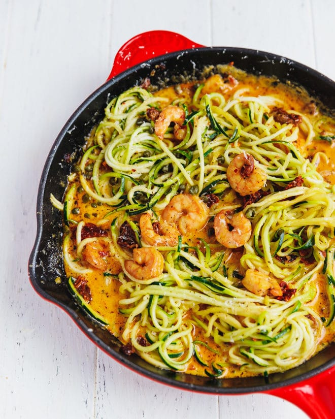 Zucchini noodles with shrimp in askillet