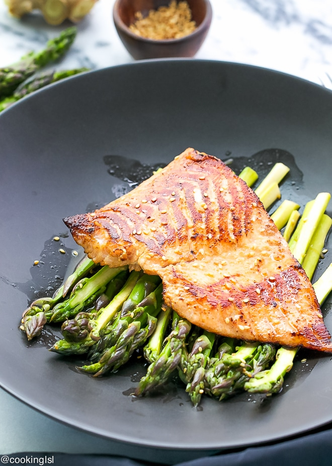 miso-glazed-salmon-with-cold-marinated-asparagus