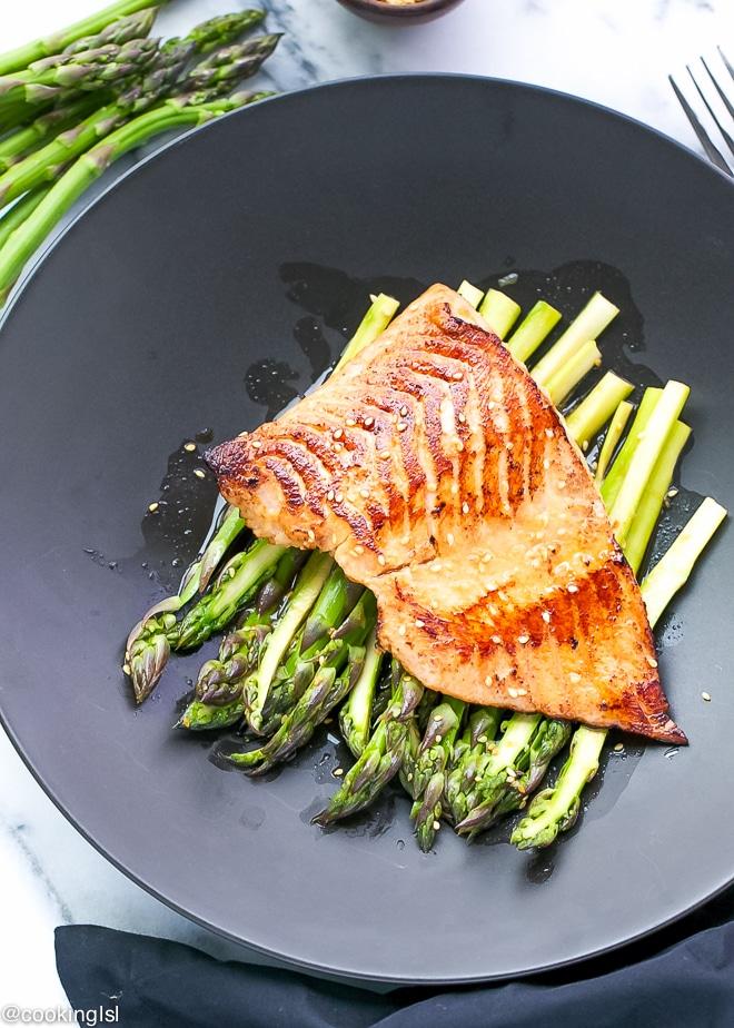 miso-glazed-salmon-with-cold-marinated-asparagus