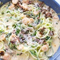 one pan healthy zucchini noodles sun dried tomato sauce and parmesan cheese, zoodles, crispy