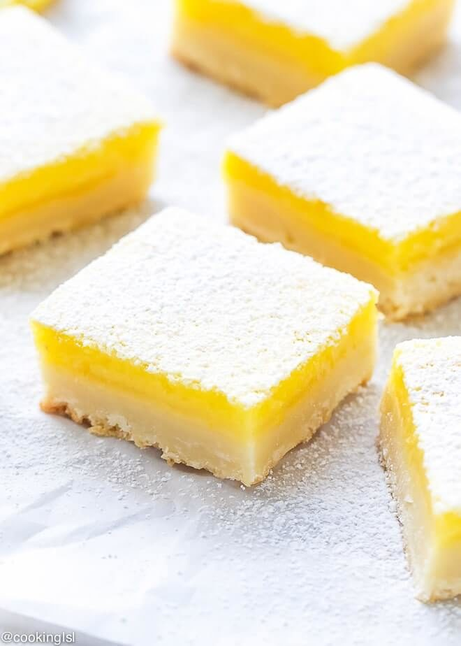 Easy lemon bars on parchment paper