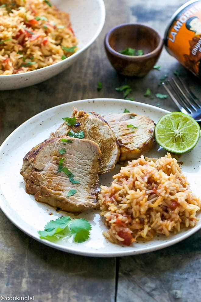 chipotle pork tenderloin on a plate