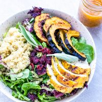grilled turmeric chicken salad pumpkin vinaigrette