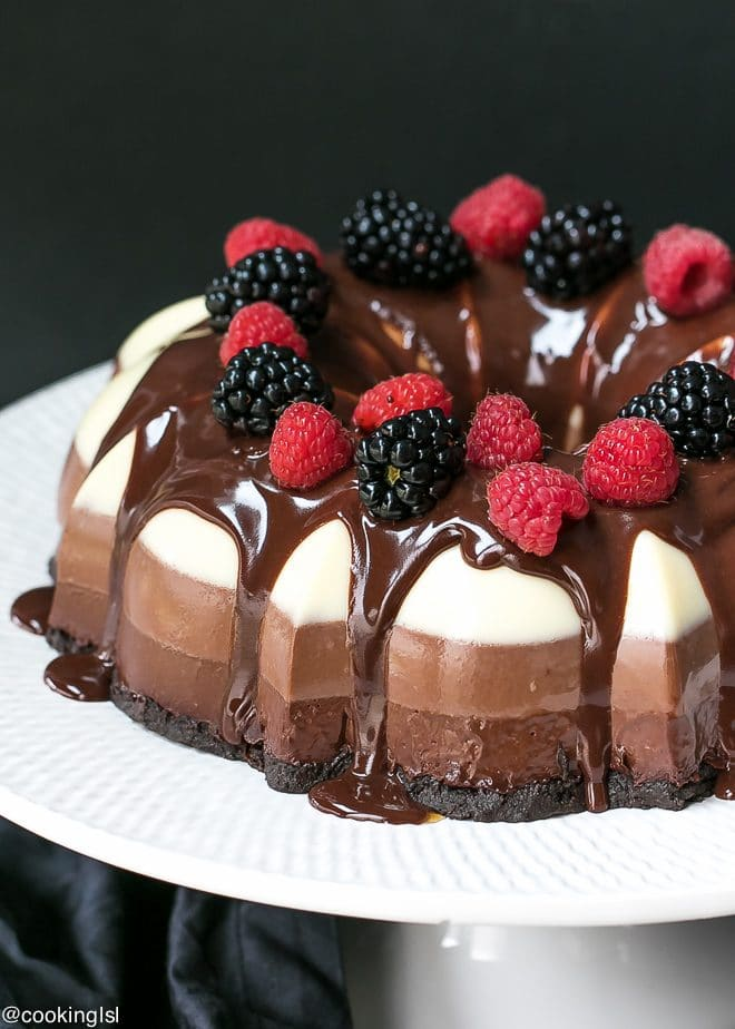 No Bake Three Chocolate Cake Recipe