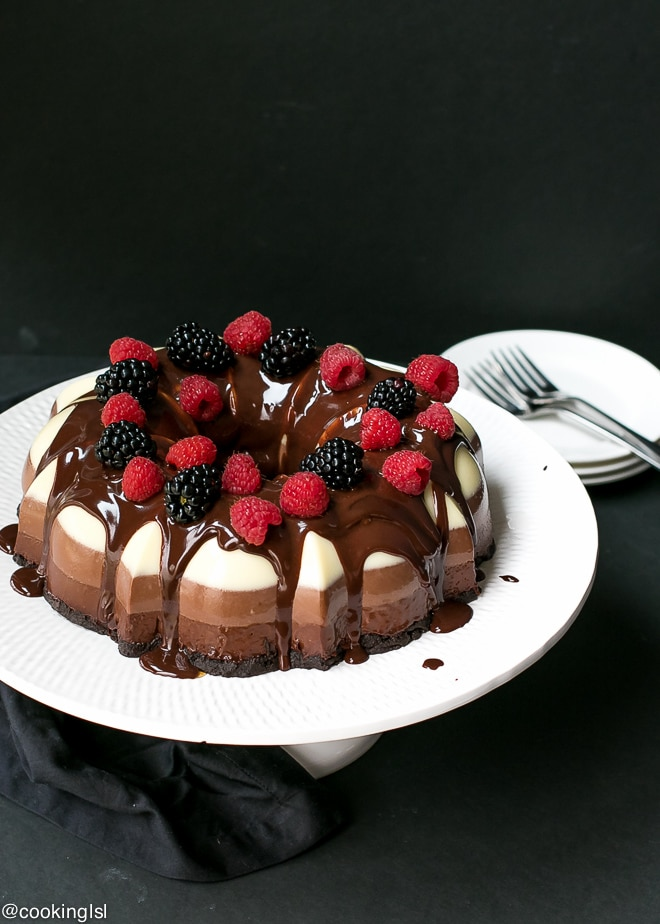 No-Bake Three Chocolate Cake Recipe