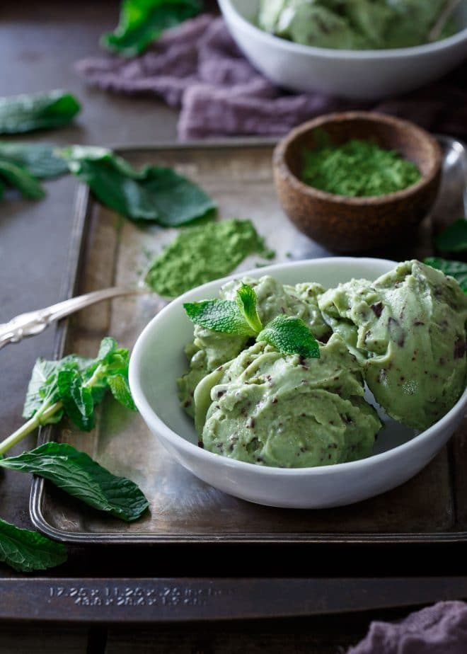matcha mint chocolate chunk ice cream