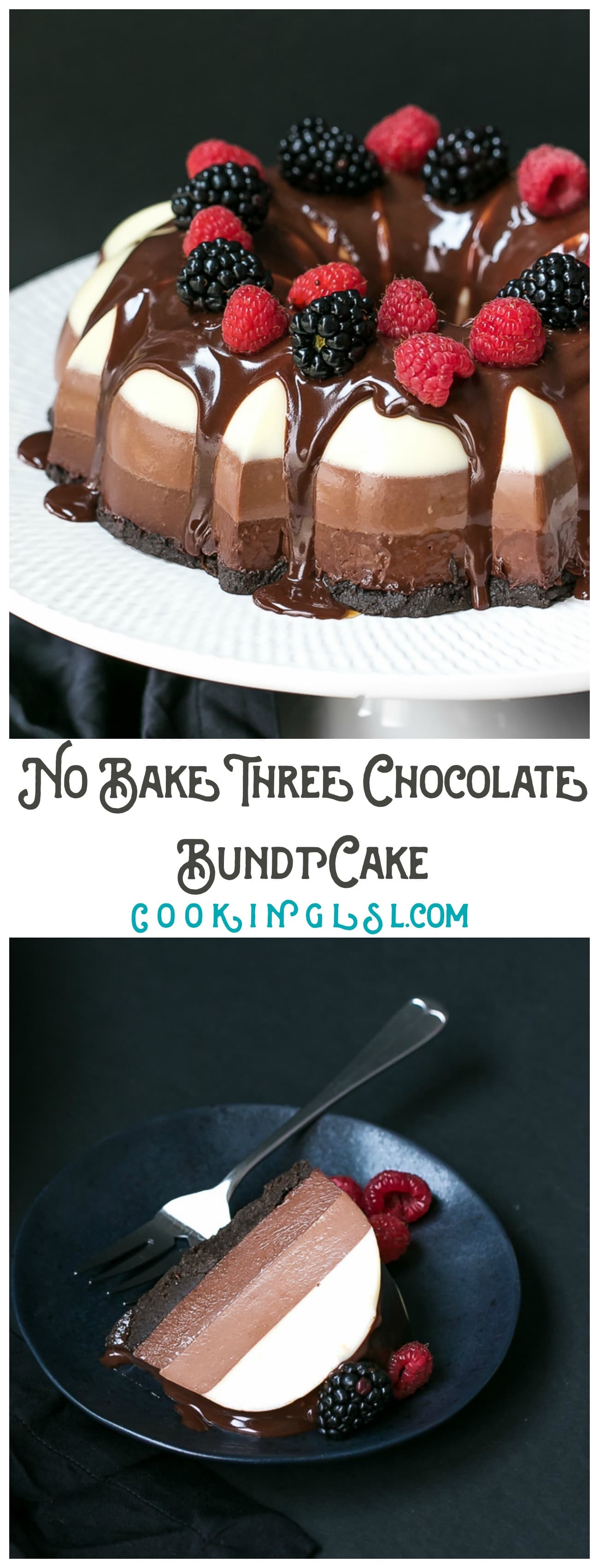 No-Bake Three Chocolate Cake Recipe - made in a bundt pan, layers of white, milk and dark chocolate and Oreo cookie crust. Topped with chocolate ganache and fresh berries. A chocolate lover's heaven!