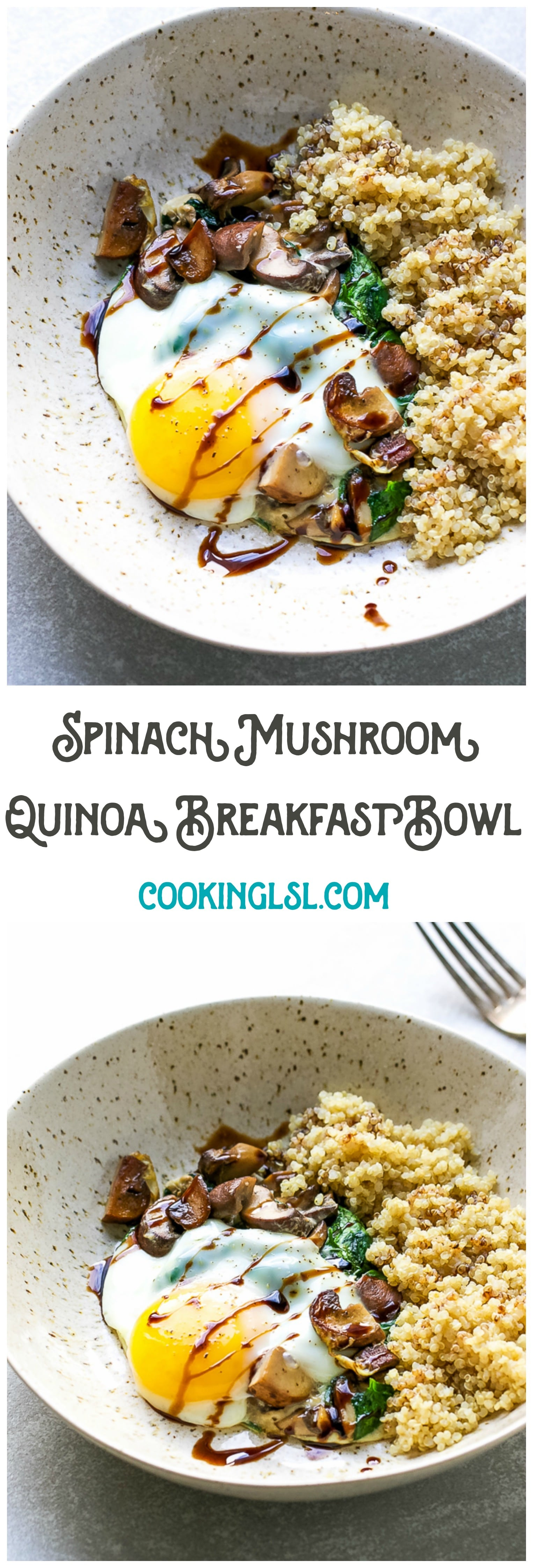Spinach Mushroom Quinoa Breakfast Bowl Recipe - a breakfast bowl loaded with nutritious and wholesome ingredients.