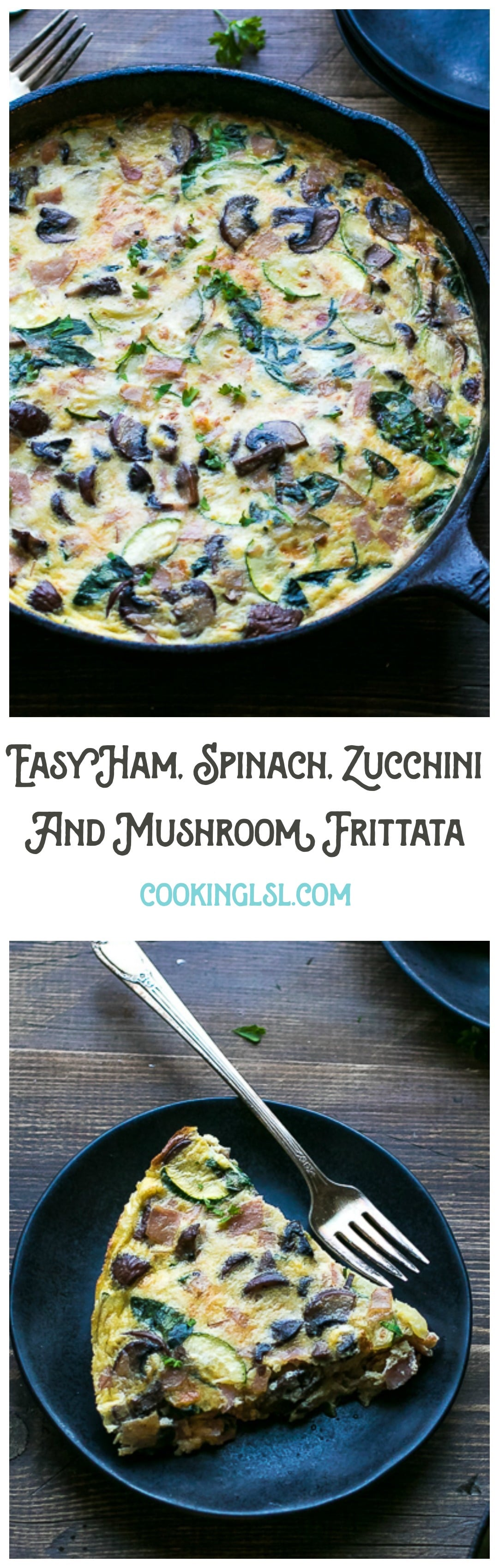 Easy-Ham-Spinach-Zucchini-And-Mushroom-Frittata-Recipe