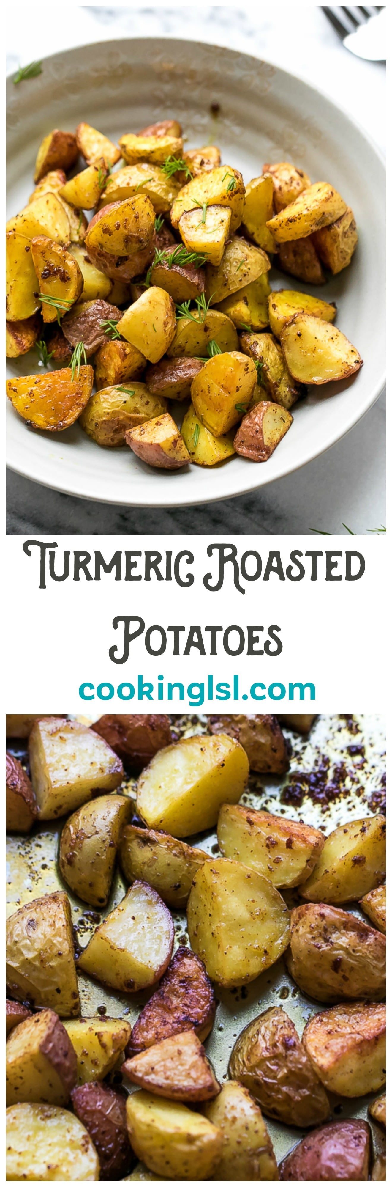 Turmeric Roasted Potatoes Recipe - very easy to make, crispy and flavorful. These potatoes are great for a side dish or an appetizer with your favorite dipping sauce.