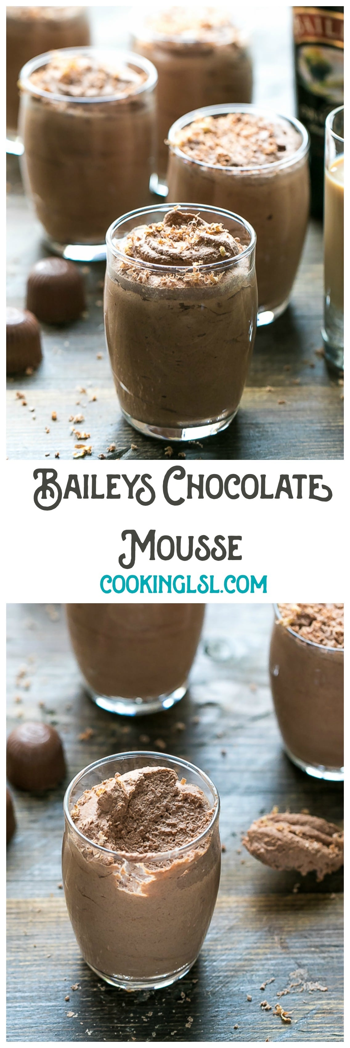 Easy Baileys Chocolate Mousse Recipe - a boozy dessert for chocolate lovers. No bake sweet treat. Made with Baileys Irish Cream. Just in time for St Patrick's Day!