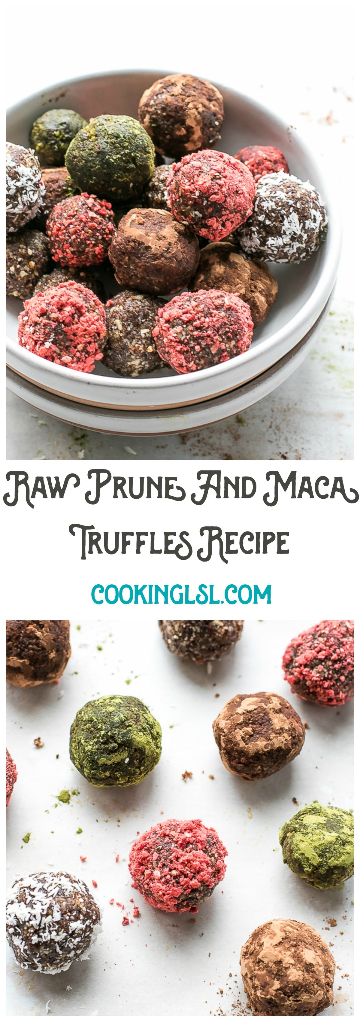 Raw Prune And Maca Truffles Recipe - naturally sweetened with prunes and maple syrup, these truffles are packed with nutritious ingredients, simple to make and also lightened up.