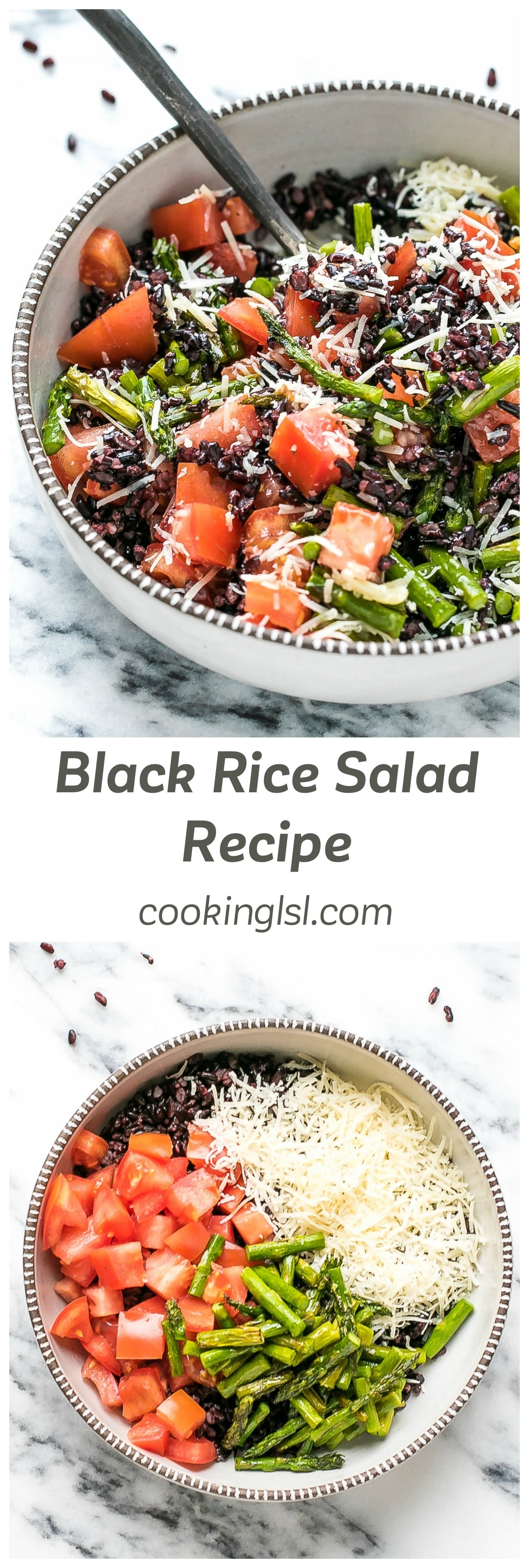 Black Rice Salad Recipe - a different kind of salad, made with black rice, asparagus, tomatoes and Parmesan cheese. Easy to make, tasty and nutritious.
