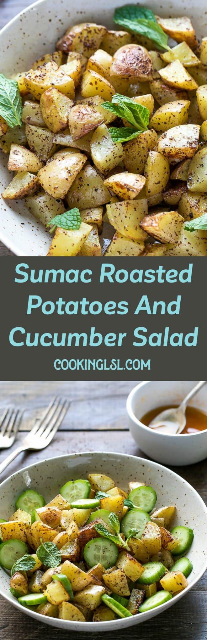 Sumac Roasted Potatoes And Cucumber Salad