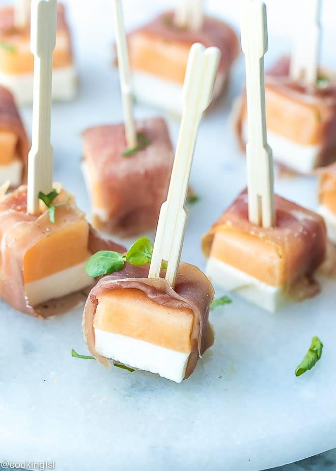Mozzarella Cantaloupe And Prosciutto Appetizer