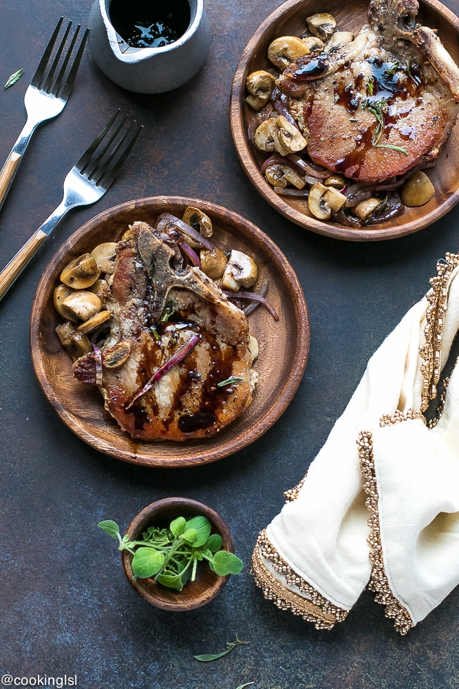 One Pan Pork Chops With Balsamic Mushrooms And Onions - quick, simple and delicious meal, made in just 30 minutes.