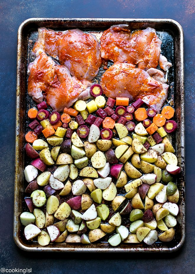 Sheet Pan Harissa Chicken With Potatoes And Carrots