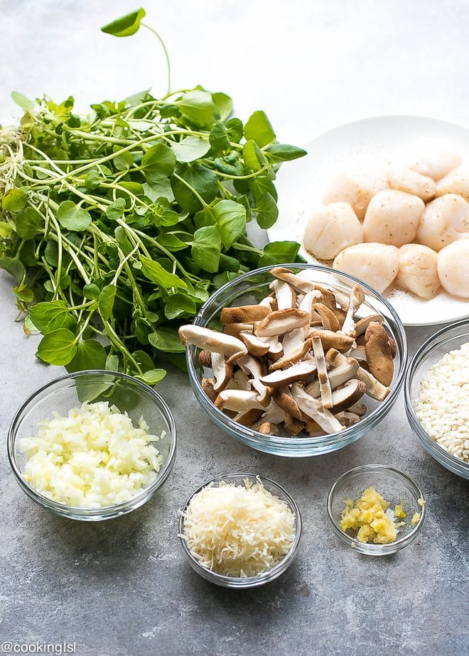 Watercress Shiitake And Scallops Risotto Recipe