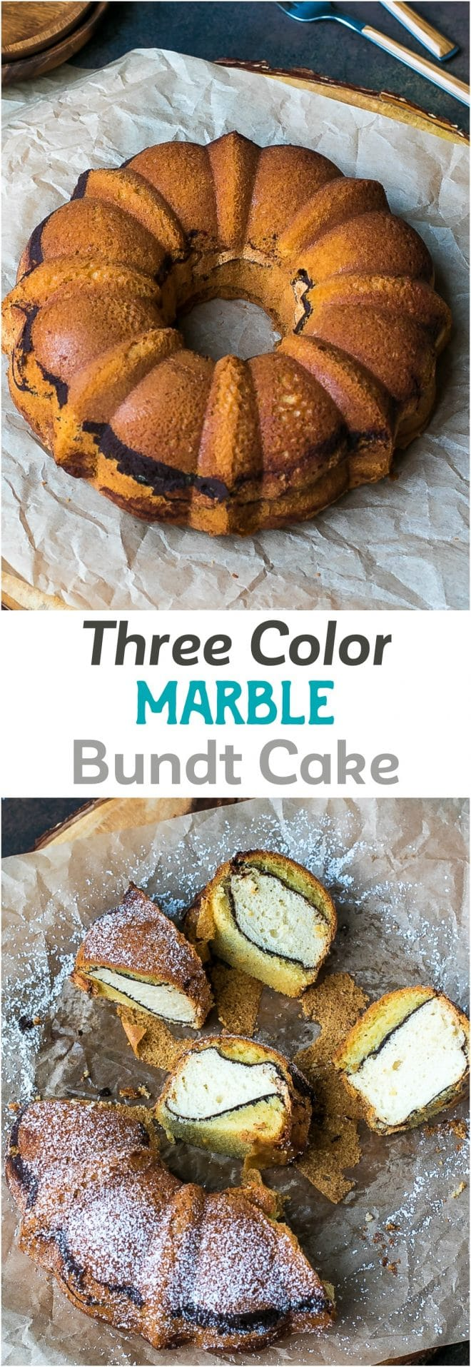 Three Color Marble Bundt Cake