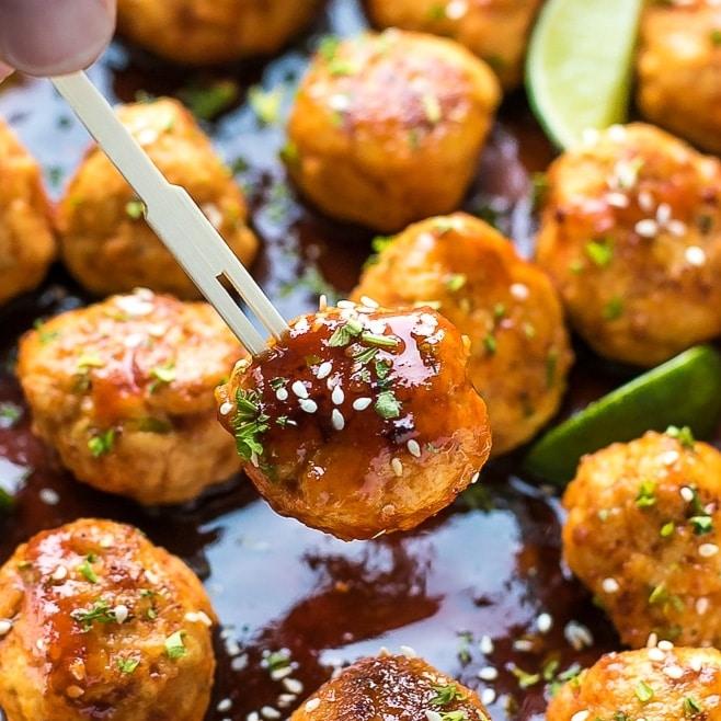 Honey Sriracha Chicken Meatballs Recipe Cooking Lsl