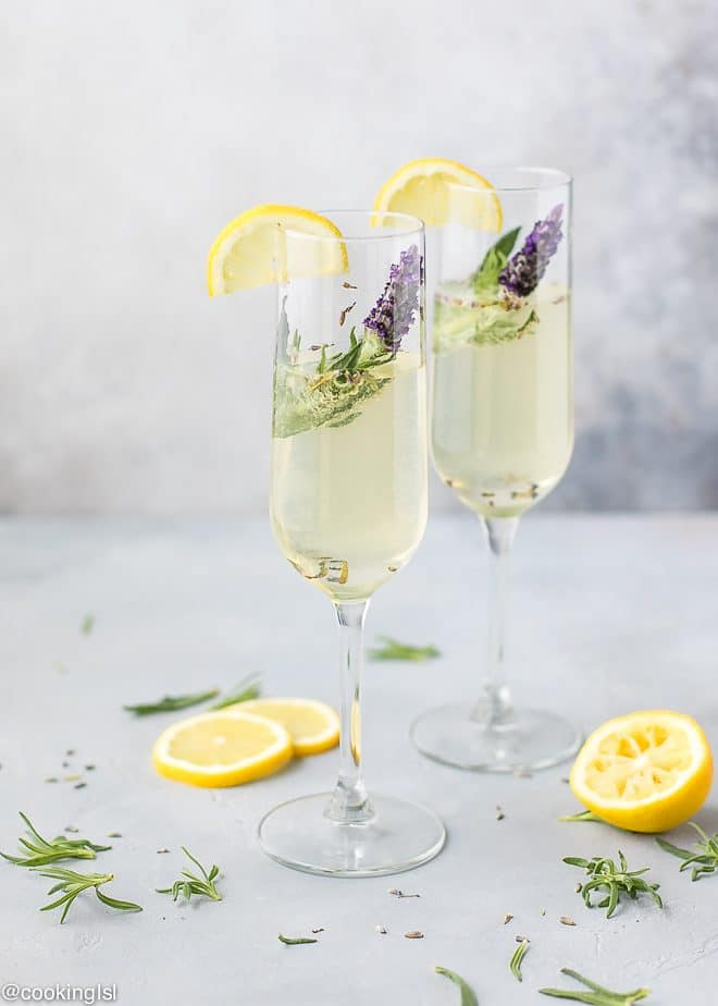 Sparkling summer poolside fresh Lavender Cocktail