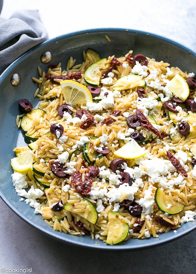 Orzo With Zucchini Sun Dried Tomatoes And Chicken