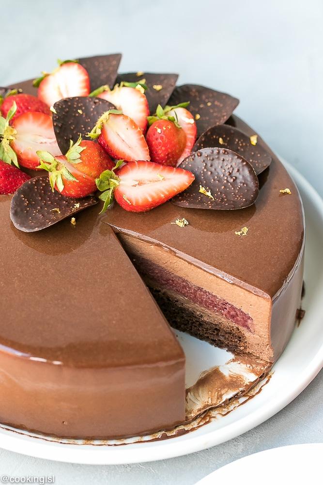 White Chocolate Strawberry Mirror Cake