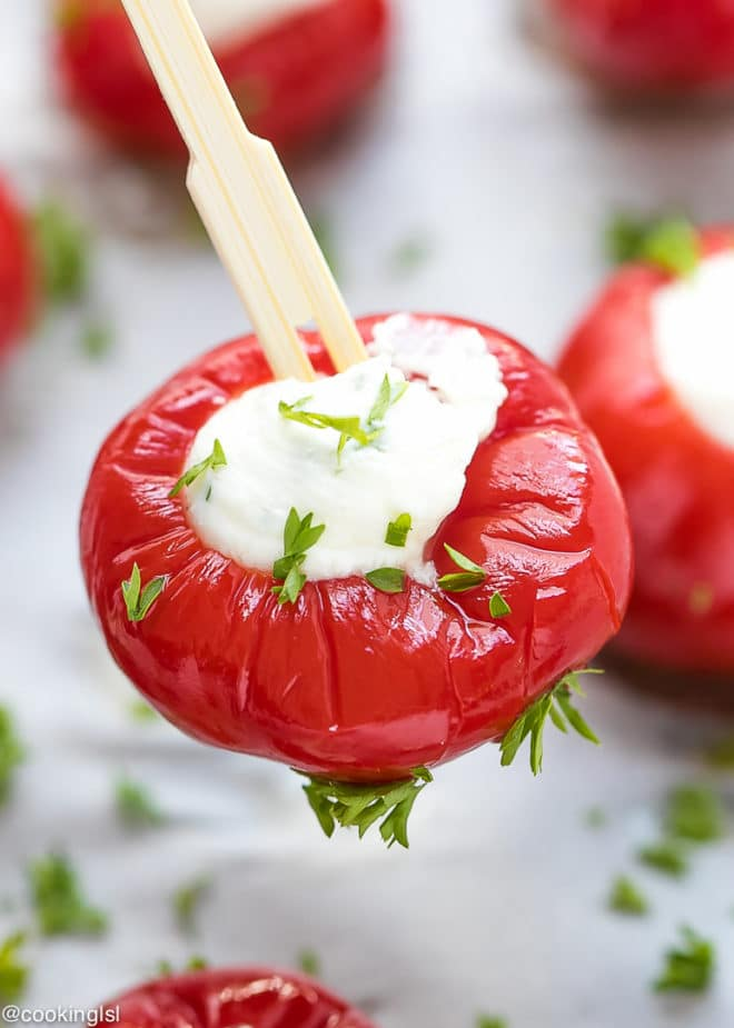 Party Toothpick Appetizer - Stuffed Cherry Peppers. Ready in 5 minutes, cheaper than store bought hot cherry peppers.