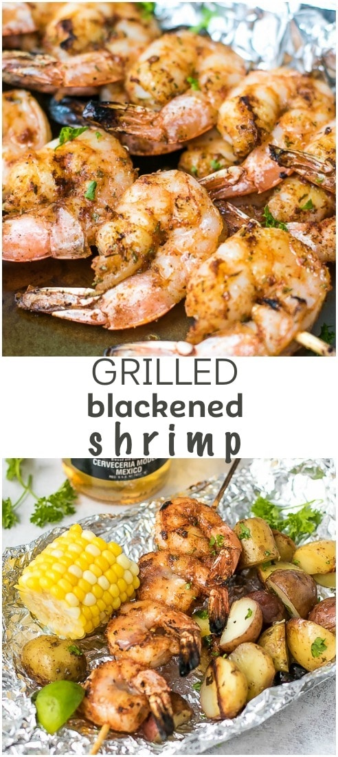Grilled Blackened Shrimp Recipe - the ultimate grilling season food. Served with grilled corn on the cob and grilled potatoes in foil. Enjoy it with Corona Extra.