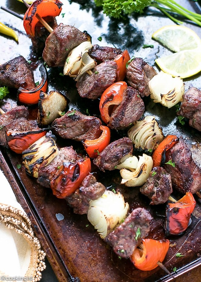 Easy Marinated Grilled Greek Lamb kebabs recipe. Healthy and loaded with Mediterranean flavors.